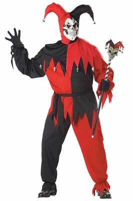 Brand New Circus Clown Plus Size Wicked Evil Jester Adult Halloween - Wicked Clown Kostüm