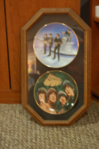 The Beatles collectors Plates set of 2 Framed