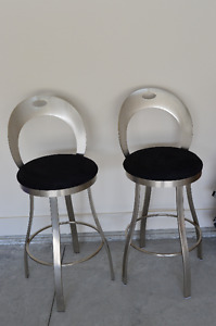 Quality stainless steel swivel Bar Stools (2)