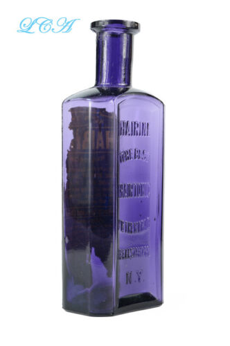 Antique HAIRINE bottle NICE & PURPLE paneled AND rare AND makes the Hair Grow