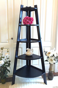 """Like New! Refinished Corner Shelf, 5 Tier, H 63"""" (TEXT/CALL Only"""