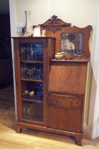 antique curio/secretary cabinet