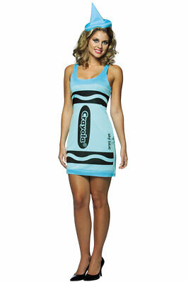 Crayola Sky Blue Tank Dress Adult Halloween Costume](Sky Blue Crayola)