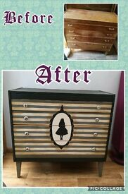 Handpainted 'Alice' chest of drawers