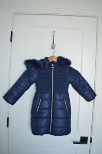 Mayoral Navy Faux Fur 3/4 Length Winter Jacket