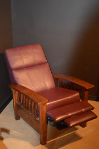 Leather & Wood Recliner