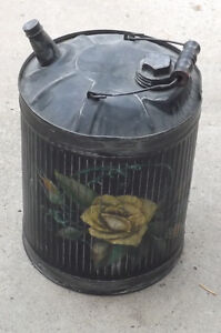 SHABBY CHIC Black Gas Can with Painted Flowers
