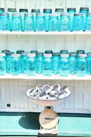 Antique blue Mason Jars with Solar Lid Lights!