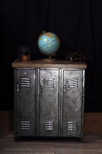 meuble industriel urbain antique bois brute metal fonte beton