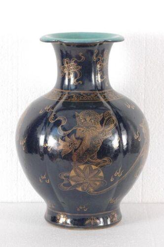 Antique Gilt Chinese Big Blue Vase Marked QianLong