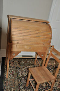 Antique Children's Roll Top Desk  and chair $125