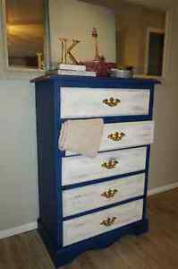 Shabby Chic Two-Tone Solid Pine Tall Boy Dresser For Sale