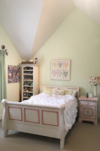 Hand painted full/double size bed frame for a girl's bedroom