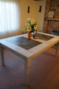 Shabby Chic Farmhouse Stone Tile Top Solid Wood Dining Table