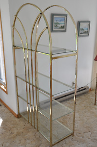 Brass and Glass Display Shelving Unit