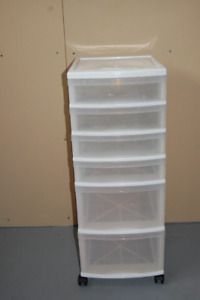 Wide 6 drawers white cart