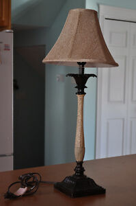 Pair of tall candlestick lamps