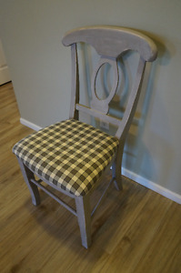 Shabby Chic Rustic Farmhouse Light Grey Solid Wood Dining Chair