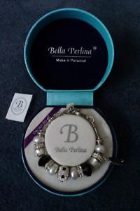 "Bella Perlina Charm Bracelet in Black, ""Diamond"" and Pearl"