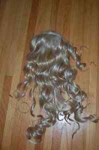 long blond wig with hairnet