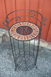 Wine Rack Plant Stand Black Metal Modern Wrought Iron Storage