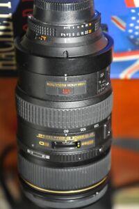 nikon 80- 400 mm   AF ED VR  f1: 4.5 -5.6d maximal f32