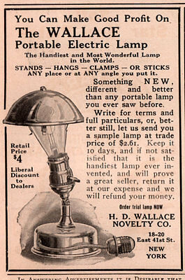 1914 AD  WALLACE NOVELTY CO PORTABLE ELECTRIC LAMP