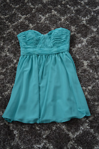 Mid length Strapless Bridesmaid Formal Dress, Turquoise Teal