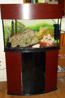 """High End """"Oceanic Brand"""" 48 Gallon Bow Front Aquarium Loaded !!"""
