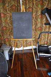 Chalkboard and wooden easle
