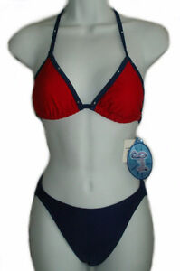 Blue Red Beaded Bikini - SMALL - NEW