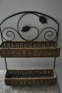 Small Wicker & Metal Shelf