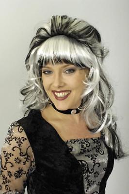 Perücke Saphira Vampir Halloween Hexen Teufel Hexe Kostüm weiß Umhang Vamp Hut