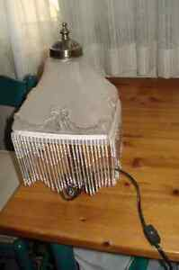 """15""""PEWTOR BASE TABLE LAMP WITH GLASS SHADE WITH HANGING GLASS ST Oakville / Halton Region Toronto (GTA) image 1"""