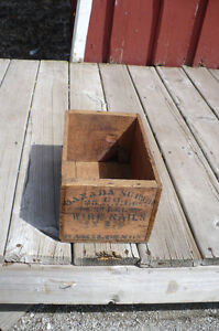 Antique Wood Nail Box Vintage Old Shipping Storage Décor