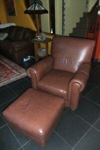 Beautiful Italian Leather Chair and Ottoman