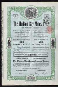 1911 Hudson Bay Mines Company Stock Certificate - free shipping