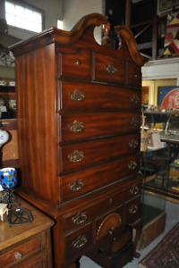VINTAGE EMPIRE STYLE HIGH BOY CHEST AT ORONO ANTIQUE MARKET