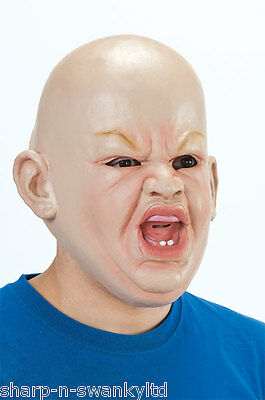Mens Angry Big Baby Scary Halloween Face Mask Fancy Dress Costume Accessory