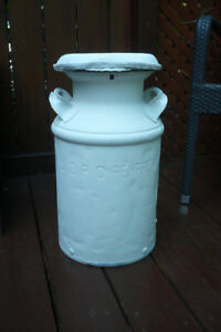 Antique Milk Can with Lid - White
