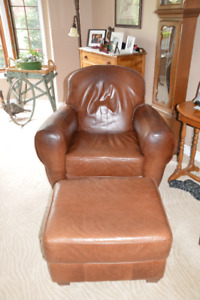 leather  arm chair with ottoman