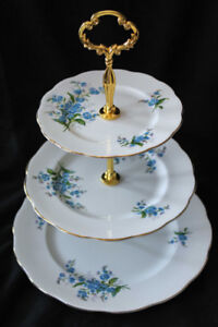 ROYAL ALBERT 3 TIER CAKE STAND - FORGET ME NOT