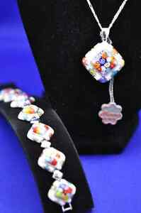 Millacreli White and Multi Color Necklace and Bracelet Set