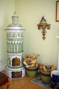 "FUNCTIONAL Mid 1800s Porcelain Stove 6'5"" - Mag Featured"