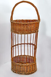 Wicker two-tiered basket/organizer/plant stand