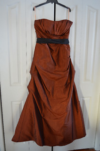 Floor Length Bridesmaid/Escort Dress in Burnt Orange