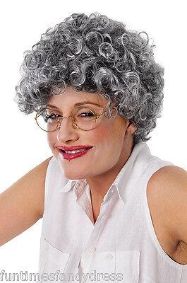 Alte Oma Kostüme (grau lockig alt Damen Oma OAP Oma Dauerwelle Style Kostüm Perücke)