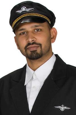 Piloten Hut (Pilotenmütze schwarz Hut Mütze Kappe Pilot Karneval Fasching)