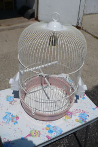 Round Bird Cage Pet White Metal Wire CLEAN Used Small Medium