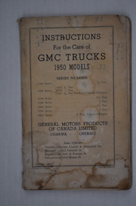 Booklet - Instructions For The Care Of GMC Trucks 1950 Models